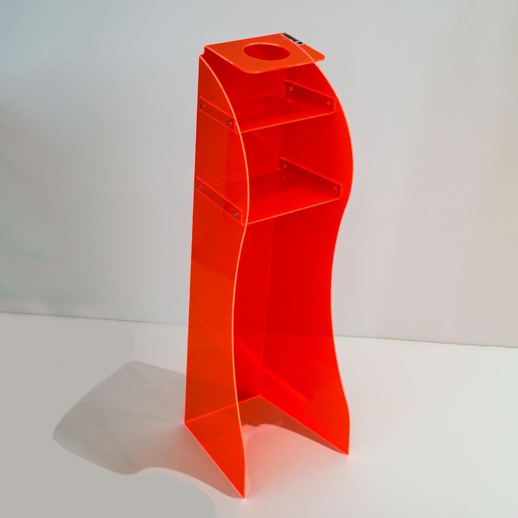 Colonna espositore porta gel igienizzante in plexiglas rosso fluo - Stylplex